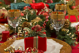 foto of christmas dinner  - Beautifully decorated Christmas setting  - JPG