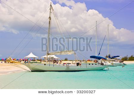 Caribbean boats at halfmoon bay