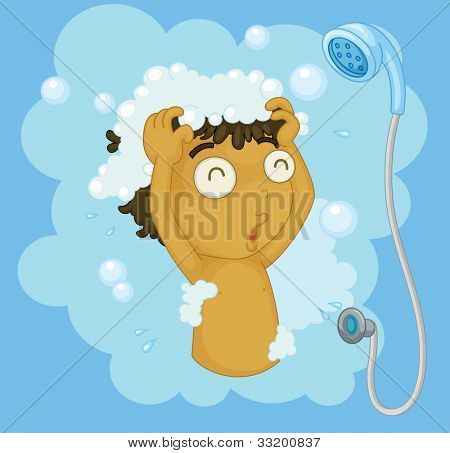 Illustration of a boy shampooing - EPS VECTOR format also available in my portfolio.
