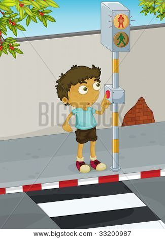 Illustration of boy using a zebra crossing - EPS VECTOR format also available in my portfolio.