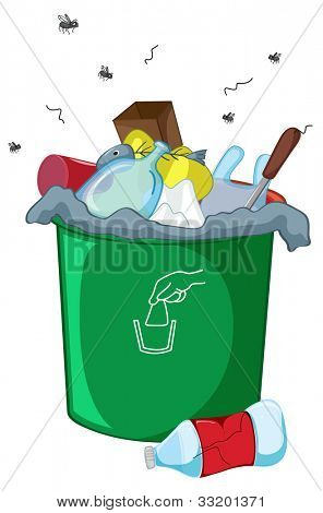 Illustration of a full rubbish bin - EPS VECTOR format also available in my portfolio.