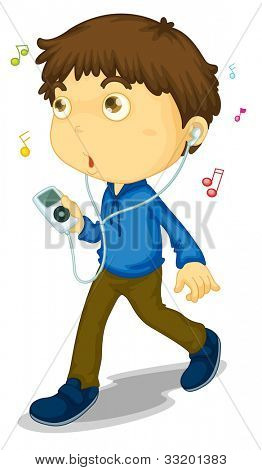 Illustration of boy walking with music player - EPS VECTOR format also available in my portfolio.