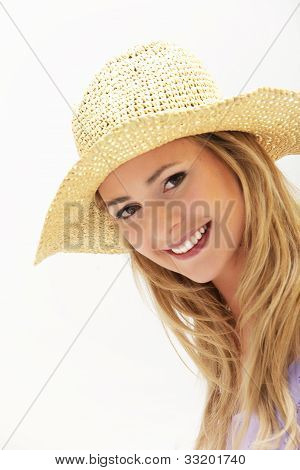 Attractive Woman In Straw Hat