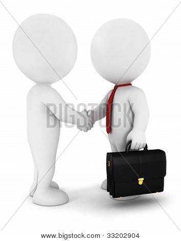 3d white people businessmen strike an agreement