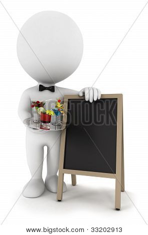 3d white people waiter with cocktail and blackboard