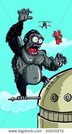Cartoon King Kong on a building swatting bi planes