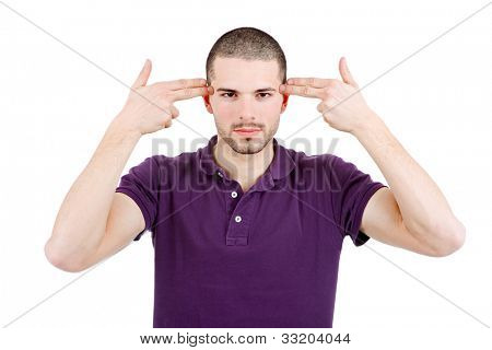 young casual man pointing to his head, isolated on white