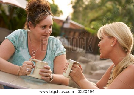 Girlfriends Enjoy A Conversation