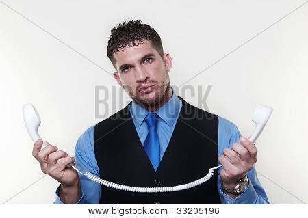 Businessman Wearing A Shirt And Tie In A Waist Coat