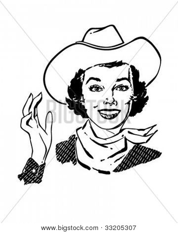 Cowgirl Waving - Retro Clipart Illustration