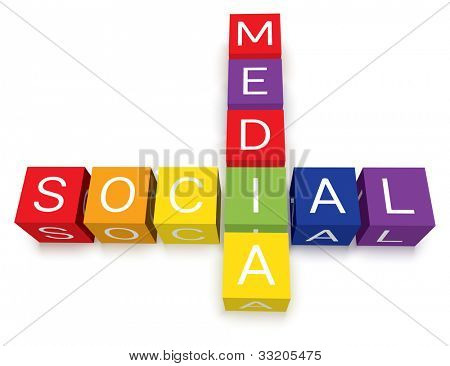Colorful social media crossword puzzle blocks.  Isolated with soft ground shadows.
