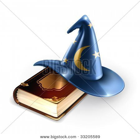 Wizard hat and old book, bitmap copy