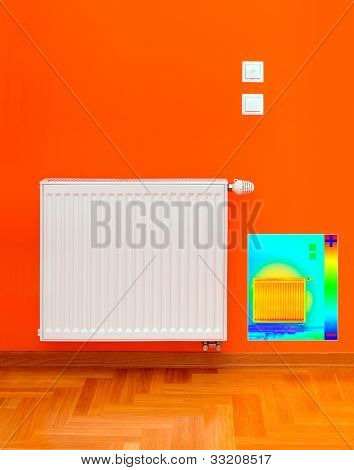 Thermal Image of Radiator Heater with Heat Loss