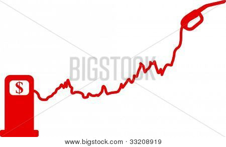 Gasoline price growth graph. Vector illustration