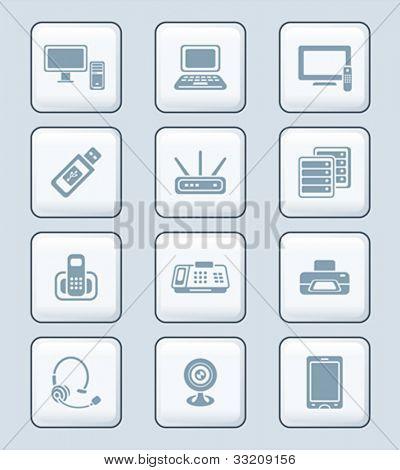 Modern office electronics gray icon-set