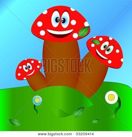 Three Fungi On A Glade