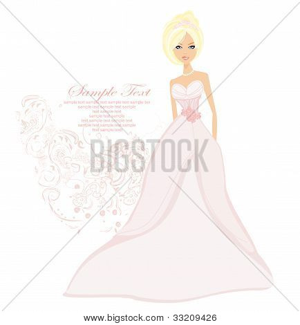 Beautiful bride with flowers card , vector illustration