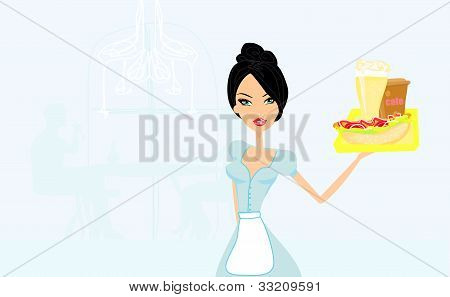 beautiful waitress with a tray in restaurant