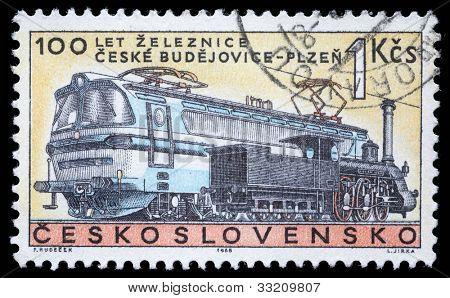 CZECHOSLOVAKIA - CIRCA 1965: A stamp printed in Czechoslovakia, shows centenary of the railway Czech Budojevice - Plzen, circa 1965