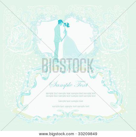 elegant wedding invitation and wedding couple , vector illustration