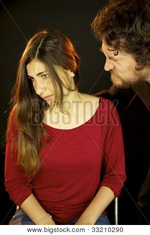 Young Woman Depressed Attached By Scary Man In The Dark