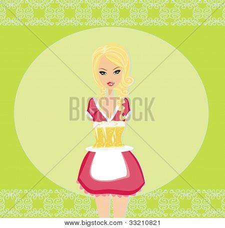 Oktoberfest waitress with beers on tray , vector illustration
