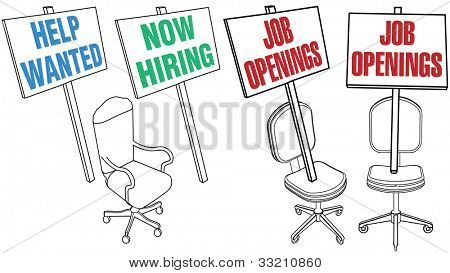 Job hiring sign empty office chair icons for human resources web pages and newspaper classified ads