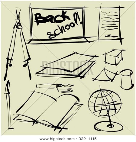 art sketching set of vector school   symbols
