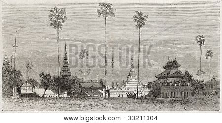 Mandalay old view, Burma: palm trees in a monastic complex. Created by Blanchard, published on L'Illustration, Journal Universel, Paris, 1863