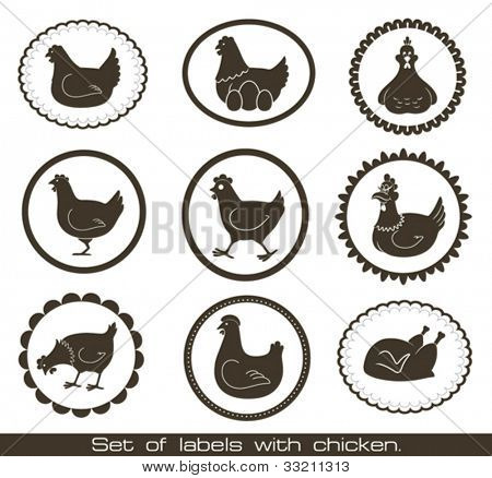 Set of labels with chicken.