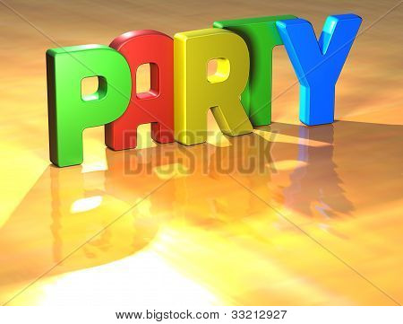Word Party On Yellow Background