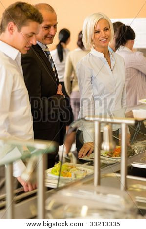 Lunch break business people in line wait for food meals