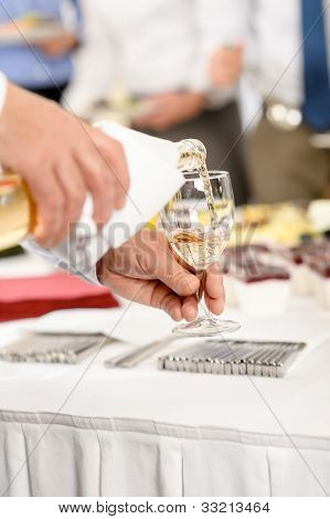 Business buffet lunch caterer serve wine appetizer company meeting