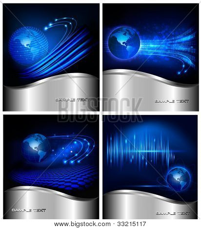 Collection of abstract technology and business backgrounds. Vector illustration