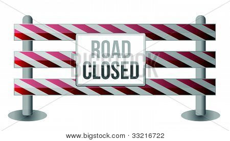 Single Road Closed Barrier illustration design over white background