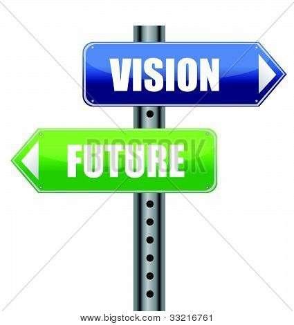 direction road sign with vision future words illustration design