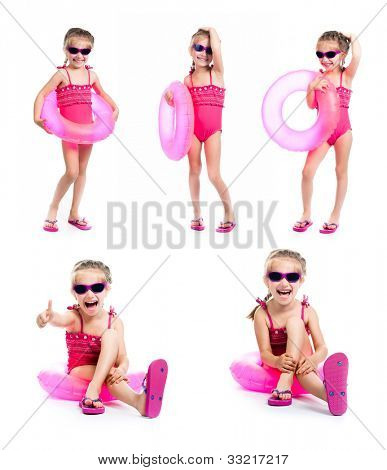 studio shot of little girl in swimsuits