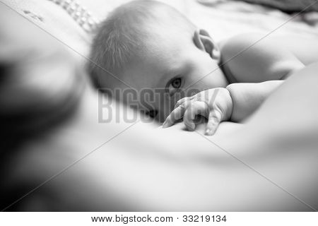 Infant Drinking Mother's Milk, In The Foreground Sweet Baby Arm