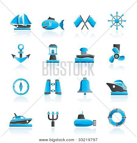 Marine, sea and nautical icons