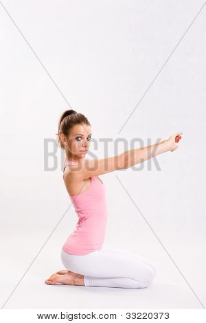 Attarctive Young Yoga Fitness Girl.