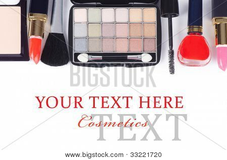 Face make-up set  isolated on white background