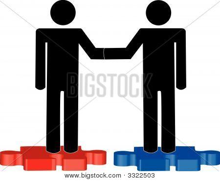 Stick Men On Red  Blue Puzzle Pieces