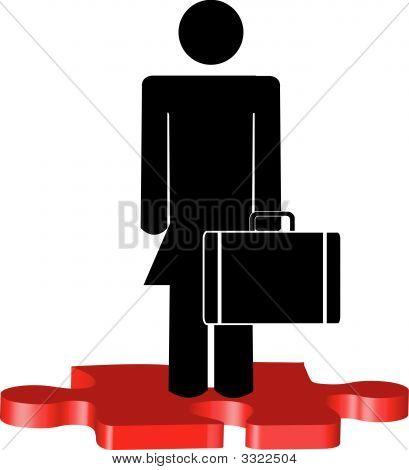 Puzzleteil Frau Business Standing Aufkleben