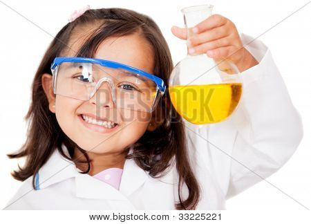 Happy little girl playing at the lab - isolated over white
