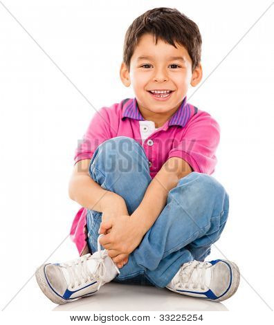 Happy little boy - isolated over a white backgorund