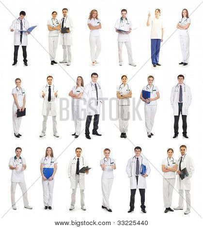 Many different medical workers isolated on white