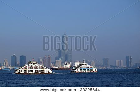 Kaohsiung Harbor Ferry Boat On The Way To Chijin Island