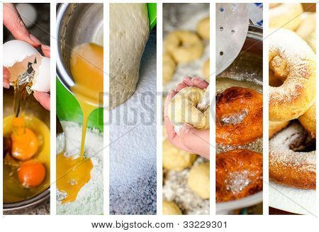 Donuts hacer Collage. Seis fotos.