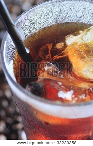 Black Drinking Straw  In Iced Coffee