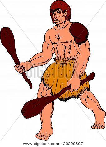 Cartoon Caveman Holding Club